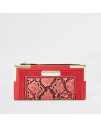 River Island Snake Print Fold Out Purse - Red