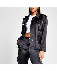 River Island - Black Satin Contrast Stitch Jacket Black Contrast Stitch Satin Trousers - Lyst