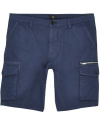 60bdcce997 River Island Navy Cargo Shorts in Blue for Men - Lyst