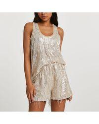 River Island Sequin Tassel Shorts - Metallic