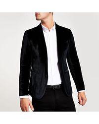 River Island Black Super Skinny Velvet Long Sleeve Blazer