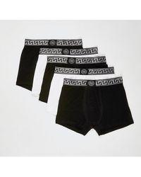 River Island Black Ri Greek Waistband Trunks 5 Pack