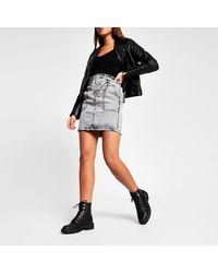 River Island Acid Wash Drawstring Mini Denim Skirt - Grey