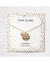 River Island | Pink Gem October Birthstone Necklace | Lyst