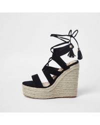 River Island | Black Lace-up Espadrille Wedges Sandals Black Lace-up Espadrille Wedges Sandals | Lyst