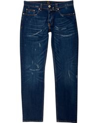 River Island - Dark Blue Distressed Dylan Slim Fit Jeans - Lyst