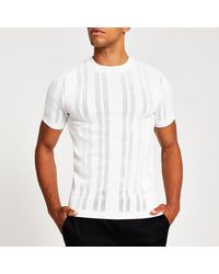 River Island White Pointelle Knitted Muscle Fit T-shirt