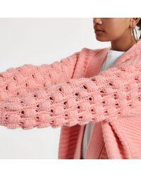 River Island - Light Pink Bobble Knit Cardigan - Lyst