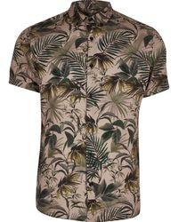 River Island Big And Tall Khaki Floral Slim Fit Shirt - Multicolour
