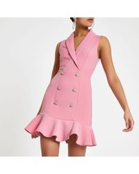 River Island - Pink Diamante Embellished Bodycon Tux Dress - Lyst