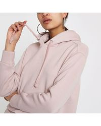 River Island - Light Pink Loose Fit Hoodie - Lyst