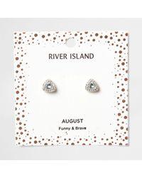 River Island - Green Gem August Birthstone Stud Earrings - Lyst