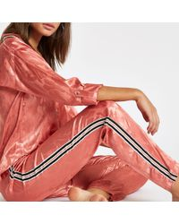 River Island Jacquard Tape Side Pajama Pants - Pink