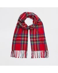 River Island Red Check Tartan Scarf