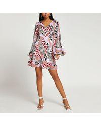 River Island Pink Long Sleeve Animal Print Tea Mini Dress