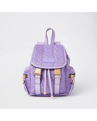 River Island Purple Jacquard Backpack