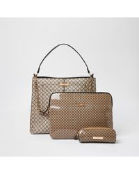 River Island Beige Ri Slouch Bag And Laptop Case Set - Natural