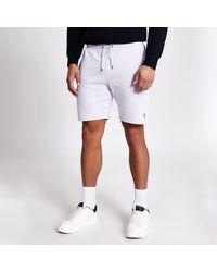 River Island Masion Riviera Purple Slim Fit Shorts