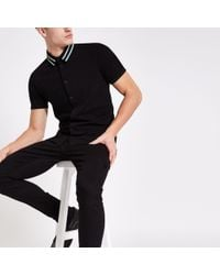 River Island - Muscle Fit Tape Collar Button Shirt - Lyst