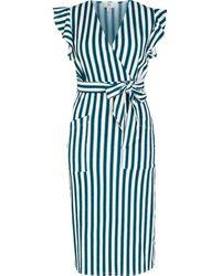 River Island Petite Blue Stripe Tie Waist Midi Dress