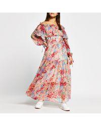 River Island Petite Pink Floral Print Maxi Dress