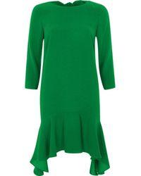 River Island   Green Tie Back Frill Hem Swing Dress Green Tie Back Frill Hem Swing Dress   Lyst