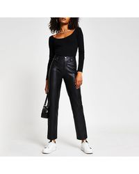 River Island Black Faux Leather Straight Fitted Pants