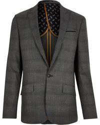 River Island Gray Prince Of Wales Check Slim Suit Jacket