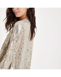 River Island Sequin Tuck Front Long Sleeve Top - Metallic