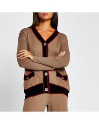River Island Brown Ribbed Gold Button Long Line Cardigan