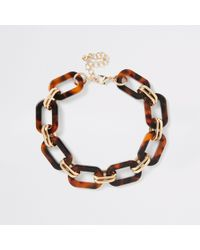 River Island - Brown Tortoiseshell Interlinked Choker - Lyst