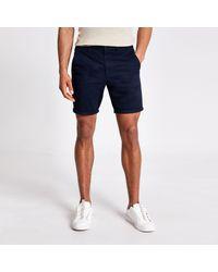 River Island Navy Sid Skinny Chino Shorts - Blue