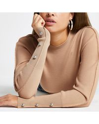 River Island Brown Embellished Long Sleeve Knit Top