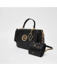 River Island - Ri Branded Quilted Cross Body Bag - Lyst