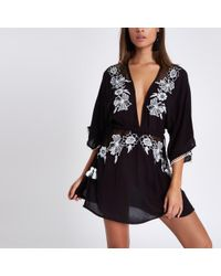 River Island Black Embroidered Beach Kaftan Cover Up