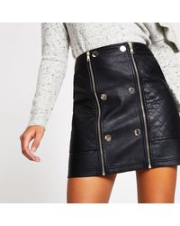 River Island Faux Leather Quilted Zip Mini Skirt - Black