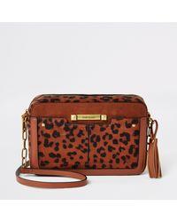 River Island Rust Velvet Leopard Printed Cross Body Bag - Brown