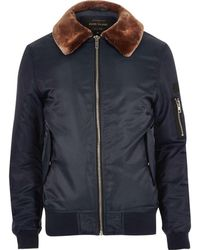 River Island | Navy Blue Borg Lined Aviator Jacket | Lyst