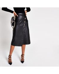 River Island Faux Leather Button A Line Midi Skirt - Black