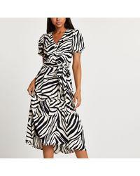River Island Beige Belted Zebra Print Midi Dress - Natural