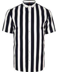 River Island - White Slim Fit Stripe Shirt - Lyst