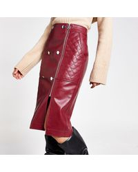 River Island Dark Red Quilted Faux Leather Midi Skirt