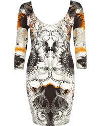 River Island Abstract Embellished Bodycon Dress - Orange