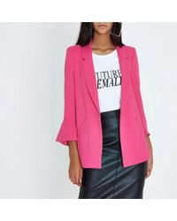 River Island | Bright Pink Frill Sleeve Blazer Bright Pink Frill Sleeve Blazer | Lyst