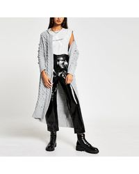 River Island Gray Cable Knit Chunky Maxi Cardigan
