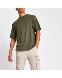 River Island Khaki Short Sleeve Oversized Fit T-shirt - Green