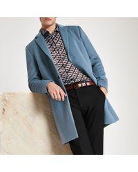 River Island - Blue Long Sleeve Overcoat - Lyst