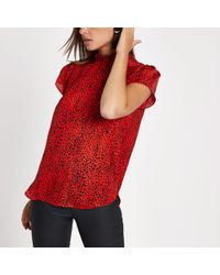 River Island - Red Leopard Print Frill High Neck Top - Lyst