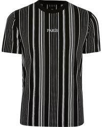 River Island Big & Tall Black Stripe 'paris' T-shirt