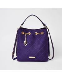 River Island Purple Quilted Bucket Bag